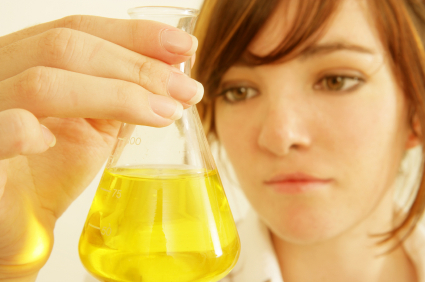 Chemist with Erlenmeyer